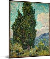 Landschap met cipressen - Schilderij van Vincent van Gogh Aluminium 30x40 cm - klein - Foto print op Aluminium (metaal wanddecoratie)