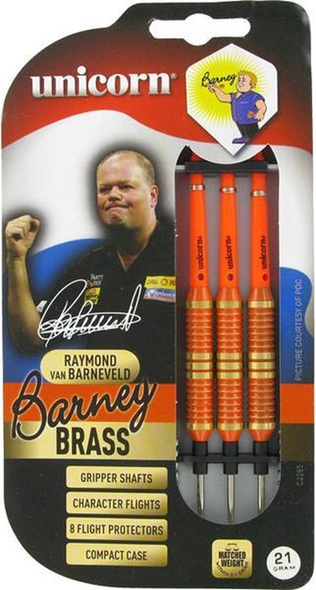 Afbeelding van het spel Unicorn Barney Brass oranje dartpijlen 25 gram
