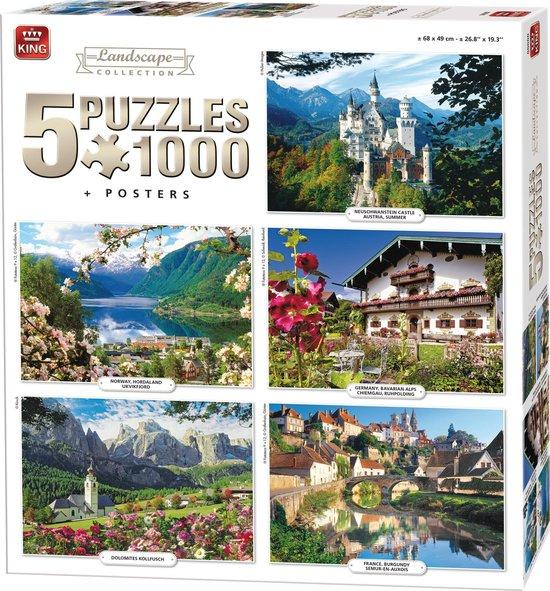 Afbeelding van King 5 in 1 Puzzel 1000 Stukjes (68 x 49 cm) - Landschap Collectie - Vijf Legpuzzels met Voorbeeldposters - Volwassenen