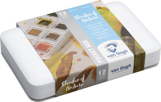 Van Gogh aquarel 12 napjes met penseel - natuur kleuren