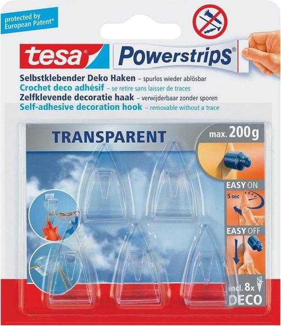 10x Tesa zelfklevende haken Powerstrips, draagkracht 200gr, blister a 8 strips en 5 haakjes