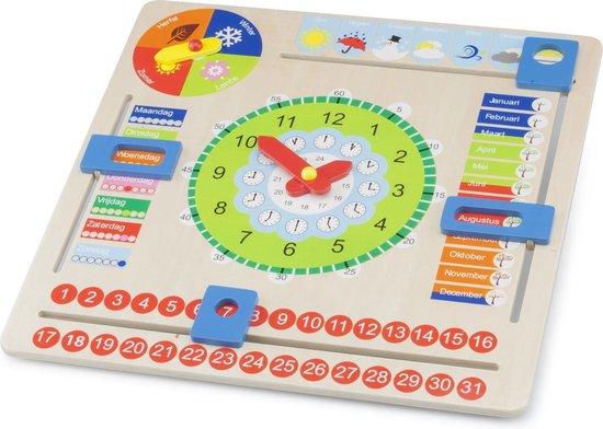 New Classic Toys Houten Kalenderklok - Leer Klokkijken - Weet jij welke dag het is? Hoe laat is het? Schijnt de zon?
