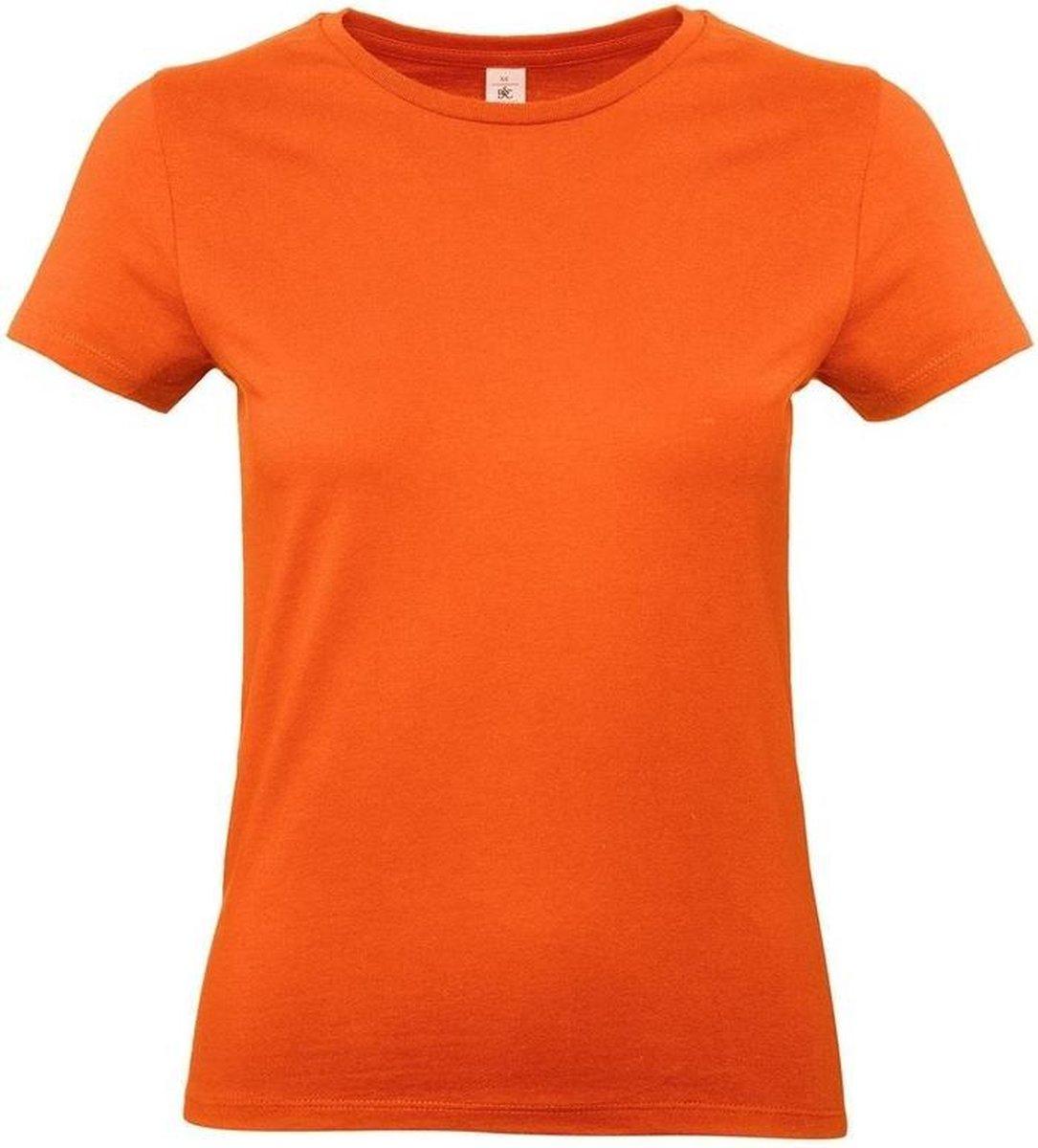 Basic dames t-shirt oranje met ronde hals - Oranje dameskleding casual shirts L (40)