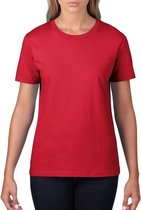 Basic ronde hals t-shirt rood voor dames - Casual shirts - Dameskleding t-shirt rood 2XL (44/56)