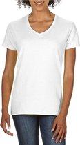 Basic V-hals t-shirt wit voor dames - Casual shirts - Dameskleding t-shirt wit S (36/48)