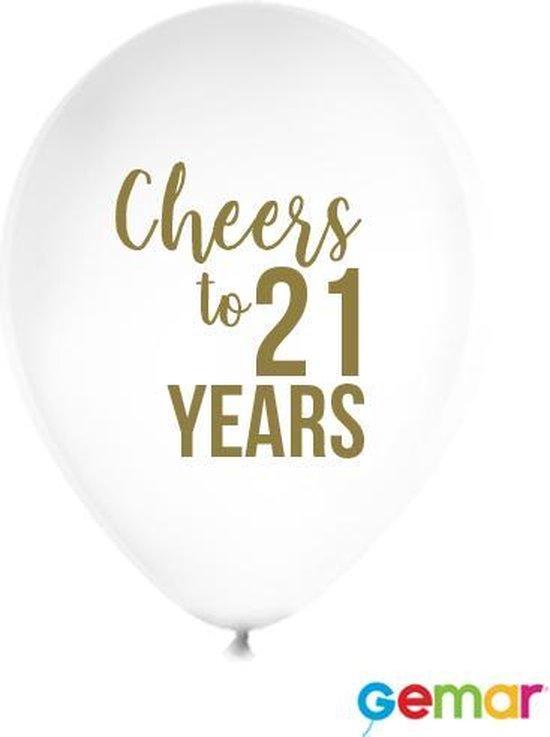 """Ballonnen """"Cheers to 21 Years"""" Wit met opdruk Goud"""