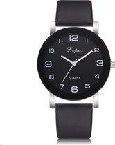LVPAI Quartz Horloge | Zwart & Zwart | PU Lederen Band | Fashion Favorite