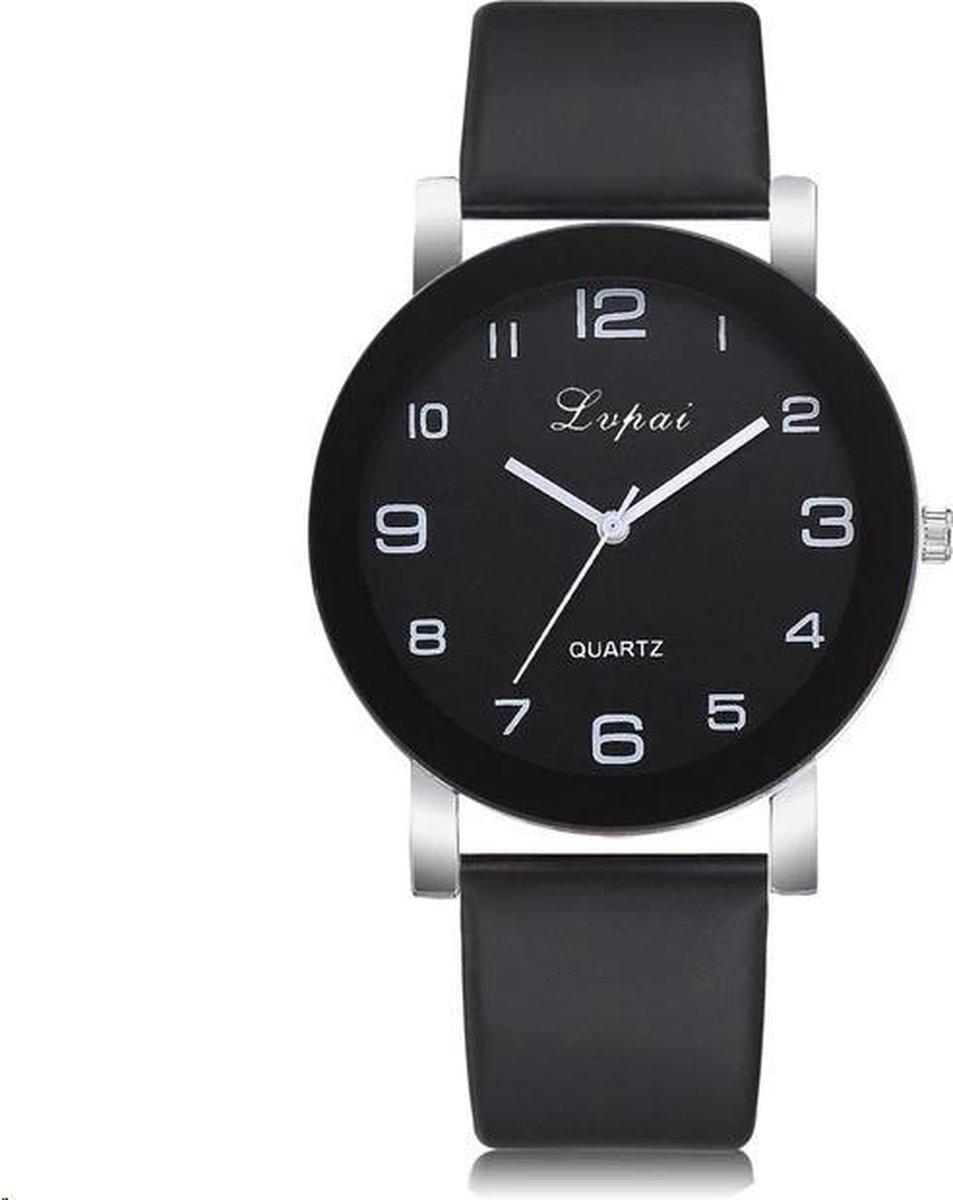 LVPAI Quartz Horloge   Zwart & Zwart   PU Lederen Band   Fashion Favorite