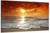 Art4-all - Canvas Schilderij Ondergaande zon - 80x60cm