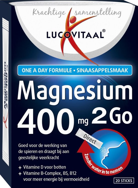 Lucovitaal Magnesium 400 mg 2Go Voedingssupplement - 20 sticks