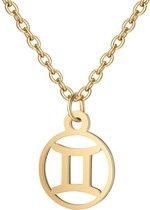 24/7 Jewelry Collection Tweelingen Ketting - Cirkel - Sterrenbeeld - Horoscoop - Goudkleurig