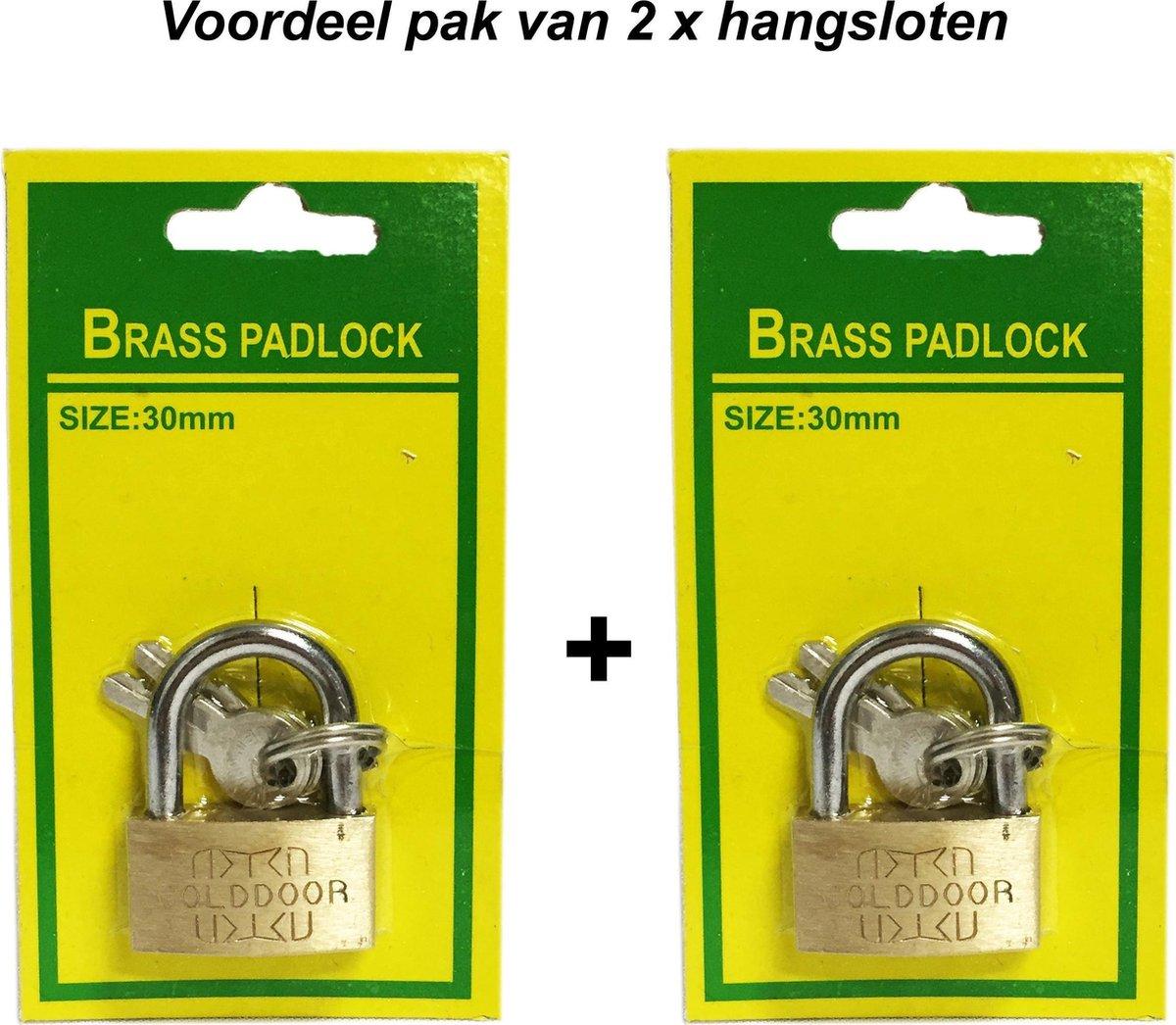 Hangslot 30MM |koffer slot |Bagageslot  voordeelpak 2 stuks - GOLDDOOR