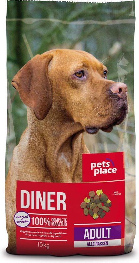 Pets Place Adult Diner - Hondenvoer - Gevogelte&Vlees - 15 kg