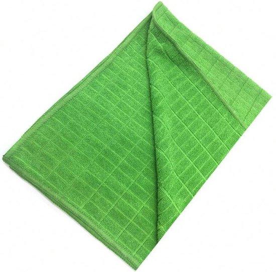 Droogdoek keukendoek groen 3 stuks met ruit structuur theedoek