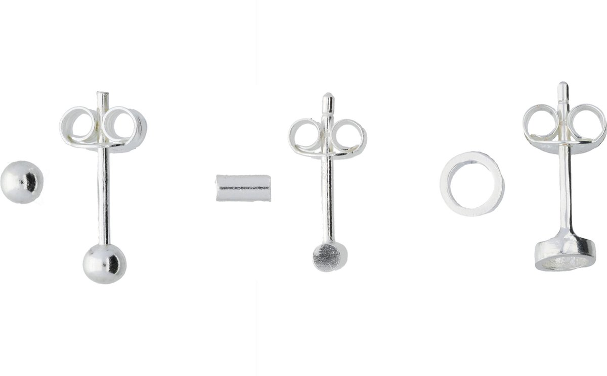 Classics&More set - oorknoppen - zilver - bol Ø3 mm - buisjes rond - cirkel - Silver Lining