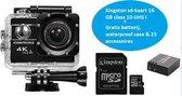 Lipa AT-45 action camera 4K - 20 MP en verstelbare lens - Beeldstabilisatie- Wifi remote + Remote in pakket - Met waterproof case- 32 accessoires- Phone remote en gratis SD-kaart 16 GB