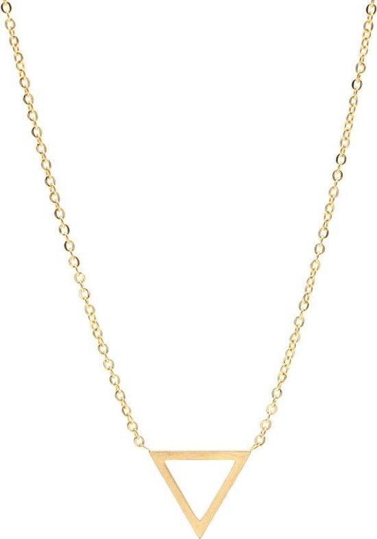 Ketting met breed Driehoekje - Necklace Triangle - RVS - Lengte 47cm - Goudkleurig - Musthaves - Dielay
