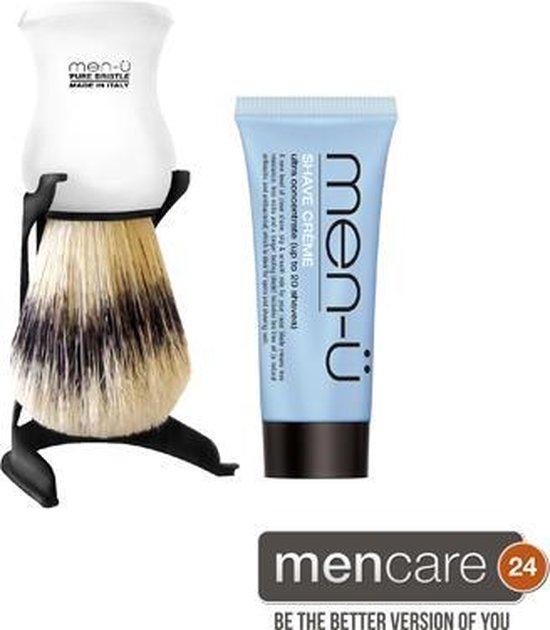 Men-U Scheerkwast Barbiere Pure Bristle - Wit + Standaard + Scheercrème