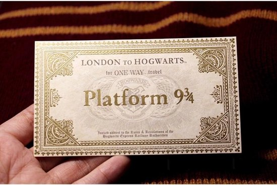 Harry Potter treinkaartje / ticket - London to Hogwarts - Platform 9 3/4 - Collectors item