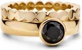 Melano twisted tracy ringset - goudkleurig + black - dames - maat 54