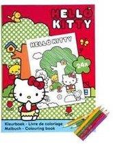 Hello Kitty kleurboek met 3 kleurpotloodjes