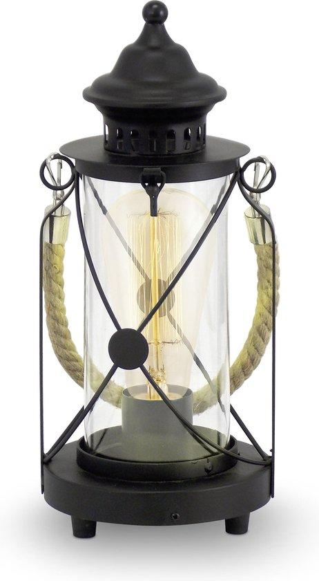 EGLO Vintage Bradford Tafellamp - 1 Lichts - Zwart - Helder Glas