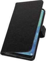 Zwart Pull-Up Booktype Hoesje voor Huawei Mate 20 X