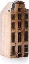 Wooden Amsterdam Amsterdams Grachtenpand - Herengracht 420 - Walnoot - Product Grootte: S (3.2 x 8.4 x 3.6 cm)