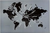 Sompex – 8118 – Wandklok – Metaal  – 60x40x2 cm – World – Zilver/Zwart