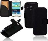 GUARD Lederen booktype hoes voor Samsung Galaxy S3 Mini mat zwart