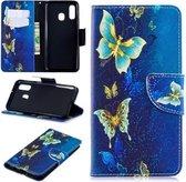 Goud blauw vlinders agenda wallet case hoesje Samsung Galaxy A40