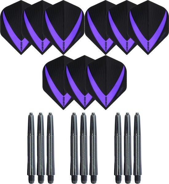 3 sets (9 stuks) Super Sterke – Paars - Vista-X – darts flights – inclusief 3 sets (9 stuks) - medium - darts shafts
