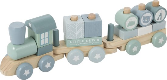 Afbeelding van Little Dutch Blokkentrein Adventure Blue