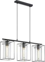 EGLO Vintage Loncino - Hanglamp - 3 Lichts - Lengte 745mm. - Zwart - Transparant
