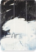 Apple iPad Hoes - Smart Cover - Voor de iPad Air 2 - Kunst Abstract Artistiek Zwart en Lichtblauw 'Art' Wit - Uniek design
