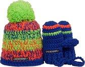 Poederbaasje Baby Muts & Handschoenen - Oranje, Blauw, Groen - 6-36 mnd