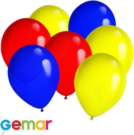 30x Ballonnen Blauw, Rood en Geel (Ook geschikt voor Helium)