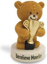 """Geluksbeeldje teddybeer met trofee """"Berelieve Moeder"""""""
