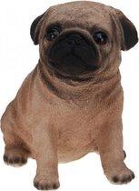 Mops honden beeldje voor binnen 17 cm