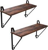 MIRA Home - Wandplank van industrieel hout - Zwevend - Vintage - Bruin/zwart - 60x20x33