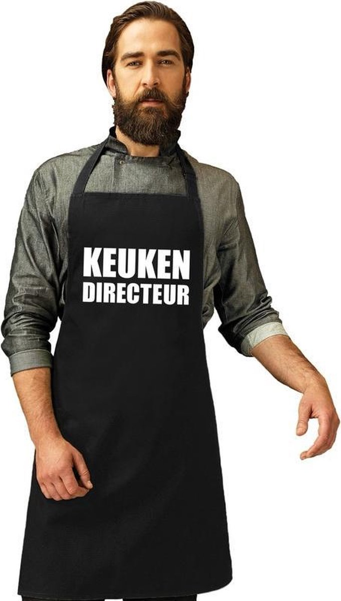 Keuken directeur keukenschort/ barbecueschort zwart heren