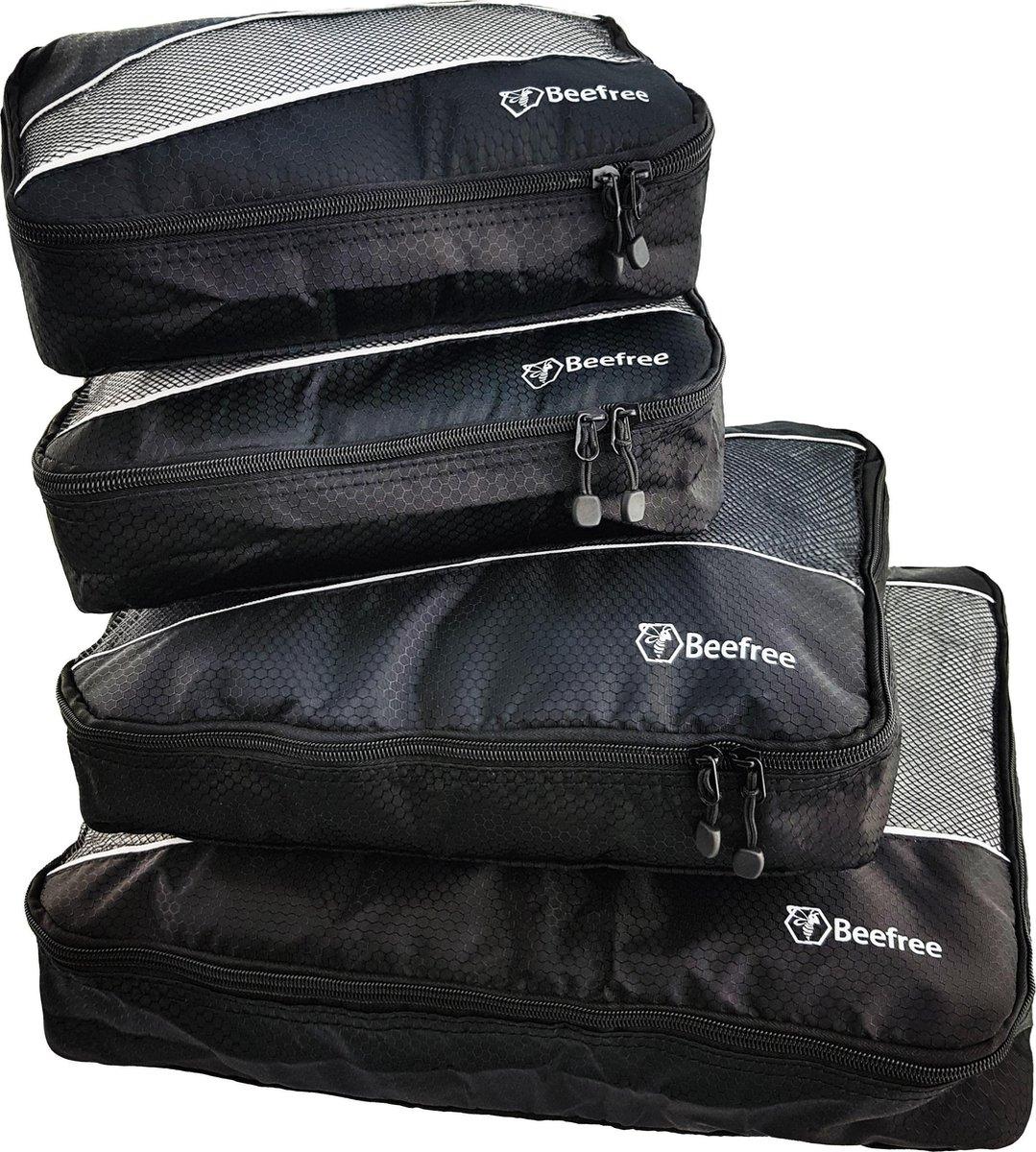Beefree Koffer organiser 4-delig Zwart, formaat handbagage | Travel bag | Reis organizer | Opgeruimde koffer | Kledinghoes | Reistas - Beefree