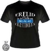 Slogan T-Shirt Maat XL - Erelid in de club van 40 jaar Oldtimers