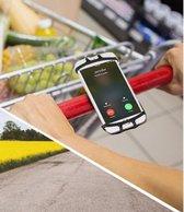 Universele Smart Telefoon houder - Ideaal om te shoppen (winkelwagentje) op de Kinderwagen of op de Fiets te plaatsen