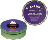 Cracklez® Knetterende Houten Lont Geur Kaars in blik Jasmijn en Ylang. Paars.