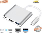 Premium USB-C 3 in 1 Adapter| USB-C naar HDMI (4K), USB A en USB C Opladen | Type C To HDMI, USB 3.0 & Type-C Fast Charging Hub | Compatible Wth Apple Macbook Pro | Air | Chromebook | IMAC | XPS | Dell | Lenovo | Surface | Samsung | Zilver | GR4IT©