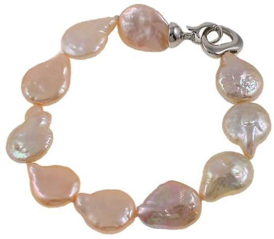 Zoetwater parel armband Coin Peach