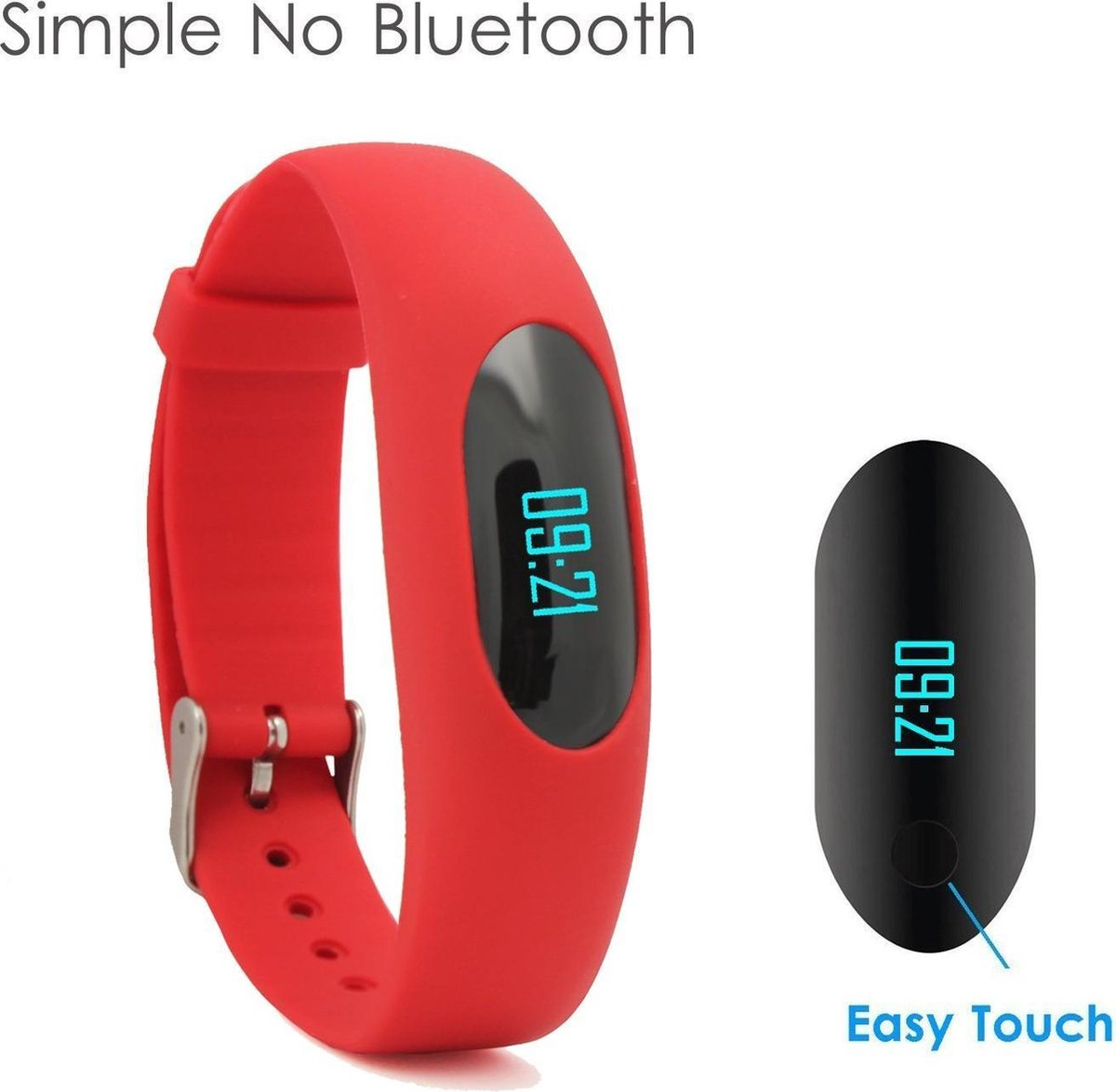 Fitness Tracker Non-bluetooth Watch Pedometer Polsband ''Rood'' - Wilfull / Yamay