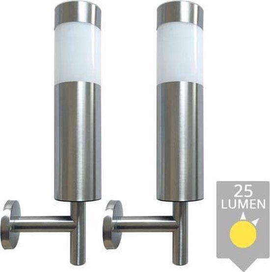 Solar wandlamp Lucifer RVS op zonne energie - LedKoning