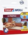 tesamoll D-profiel tochtstrip rubber, 6m:9mm:7mm, bruin